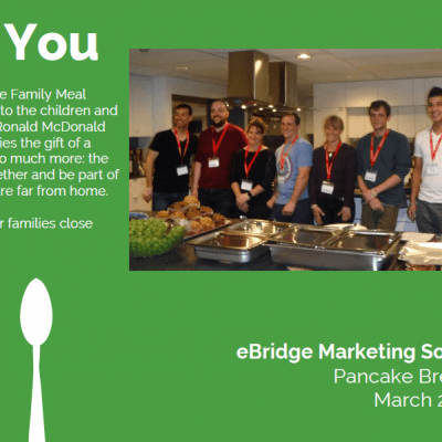 eBridge Marketing Solutions, clients, and friends volunteering at Ronald McDonald House.