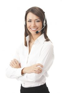 Stock image of woman with headset.