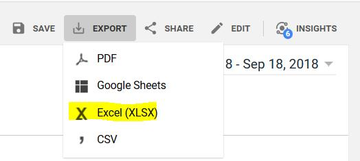 Export Google Analytics Data