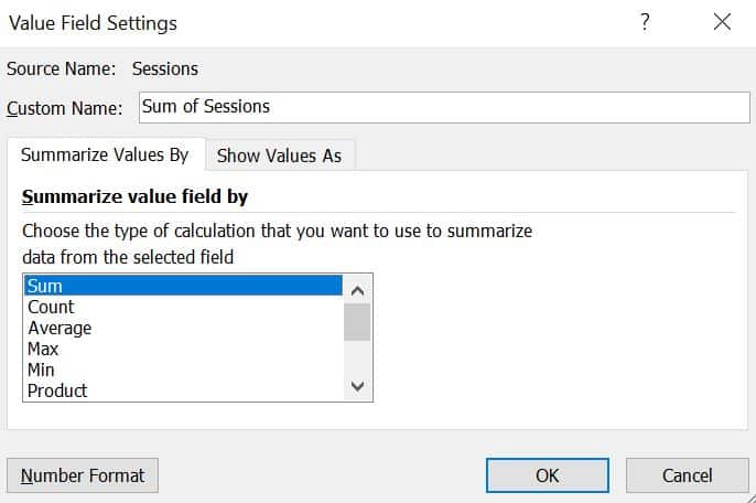 Value Field Settings